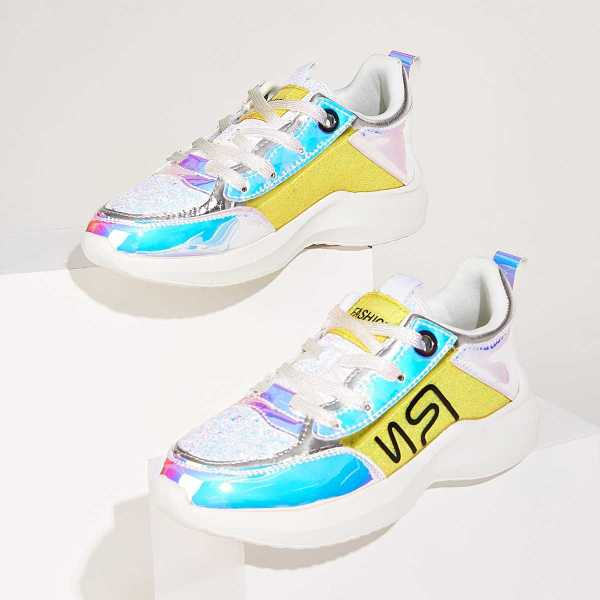 Lace-up Front Holographic Panel Glitter Trainers in Multicolor by ROMWE on GOOFASH