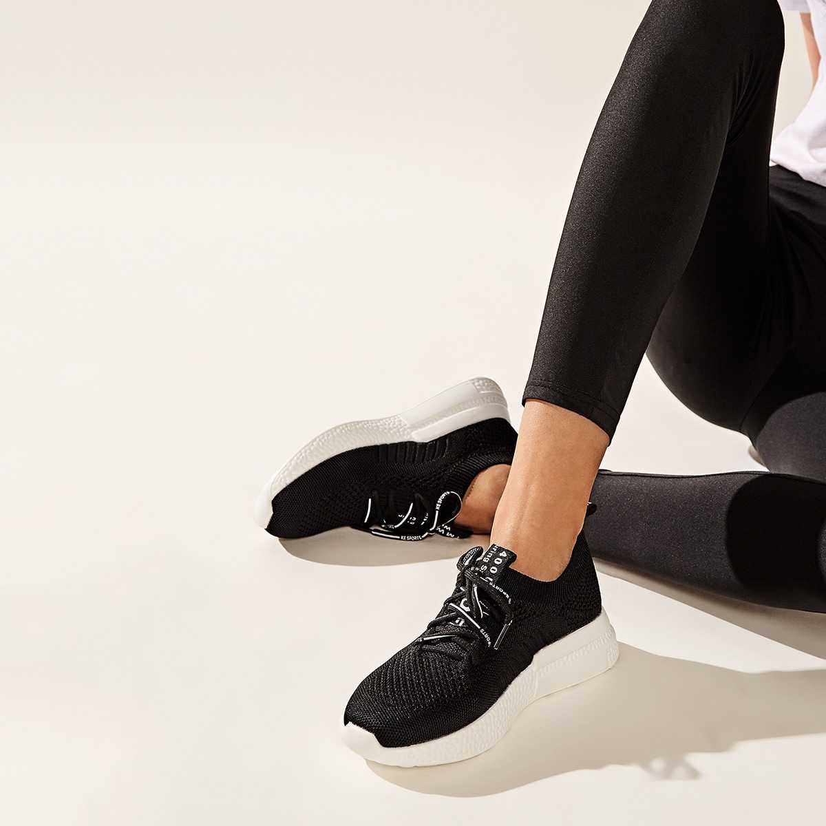 Lace-up Front Knit Trainers in Black by ROMWE on GOOFASH