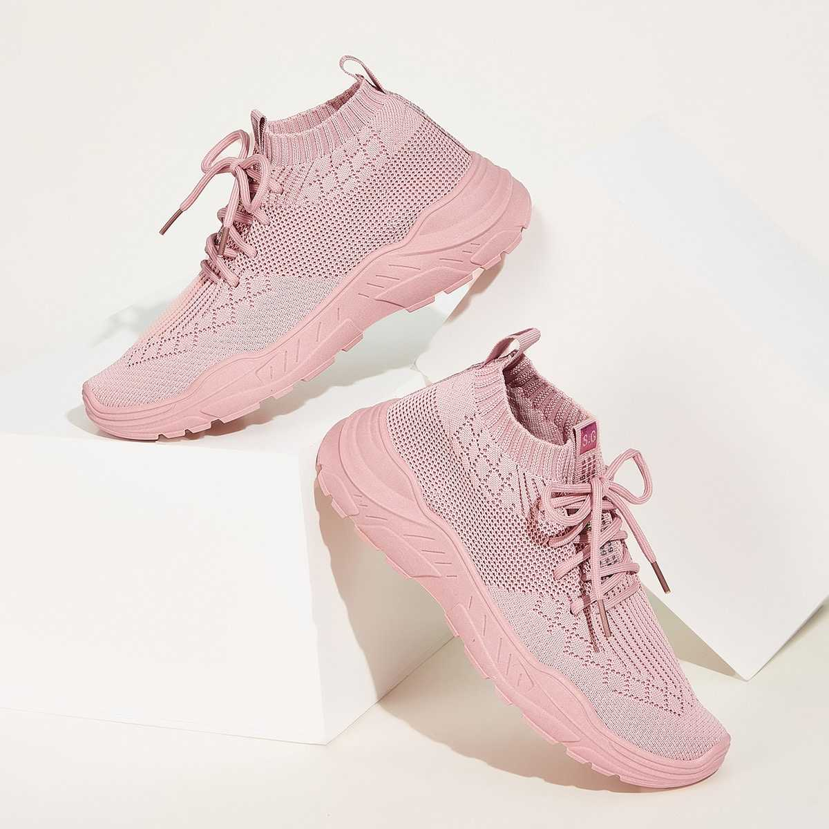 Lace-up Front Knit Trainers in Pink by ROMWE on GOOFASH
