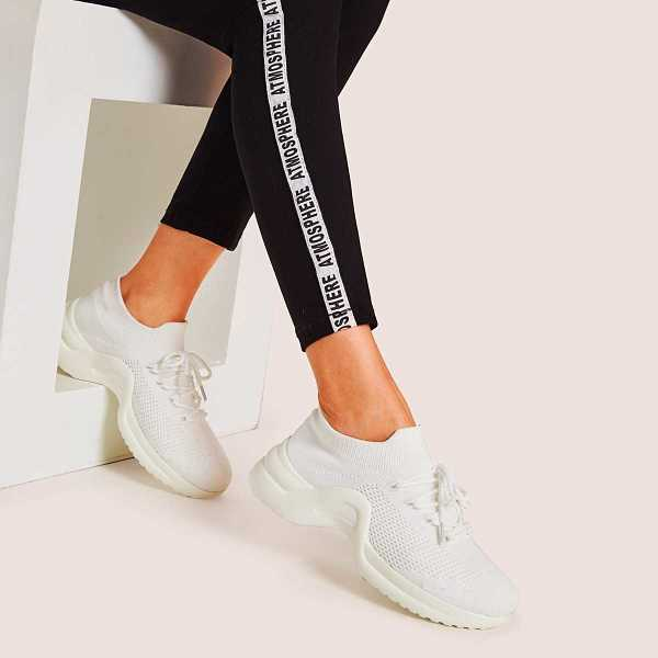 Lace-up Front Knit Trainers in White by ROMWE on GOOFASH
