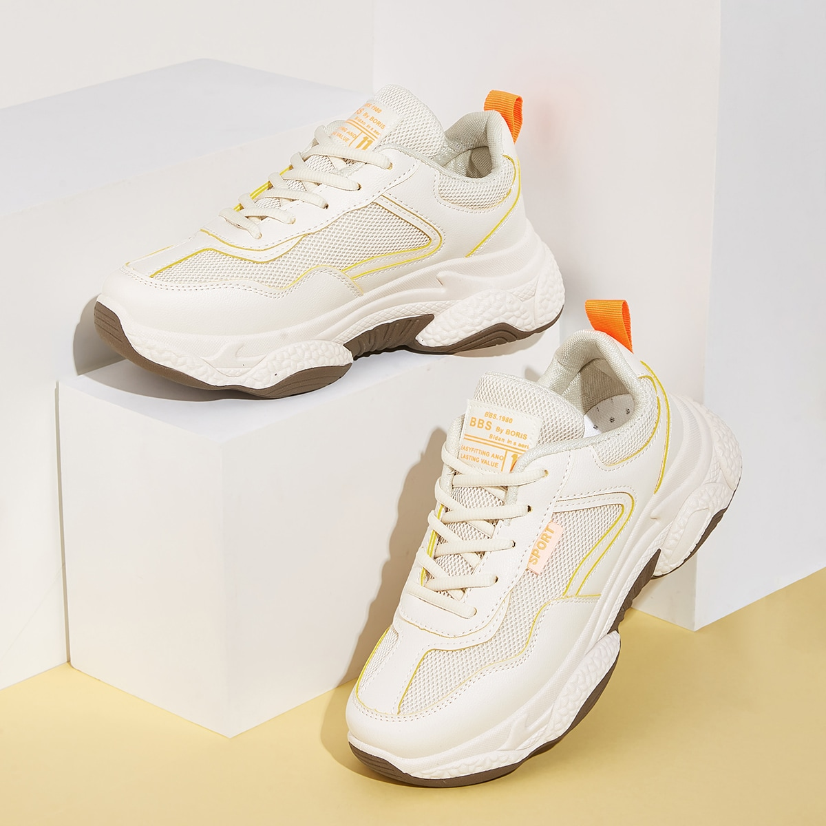 Lace-up Front Mesh Trainers in Apricot by ROMWE on GOOFASH