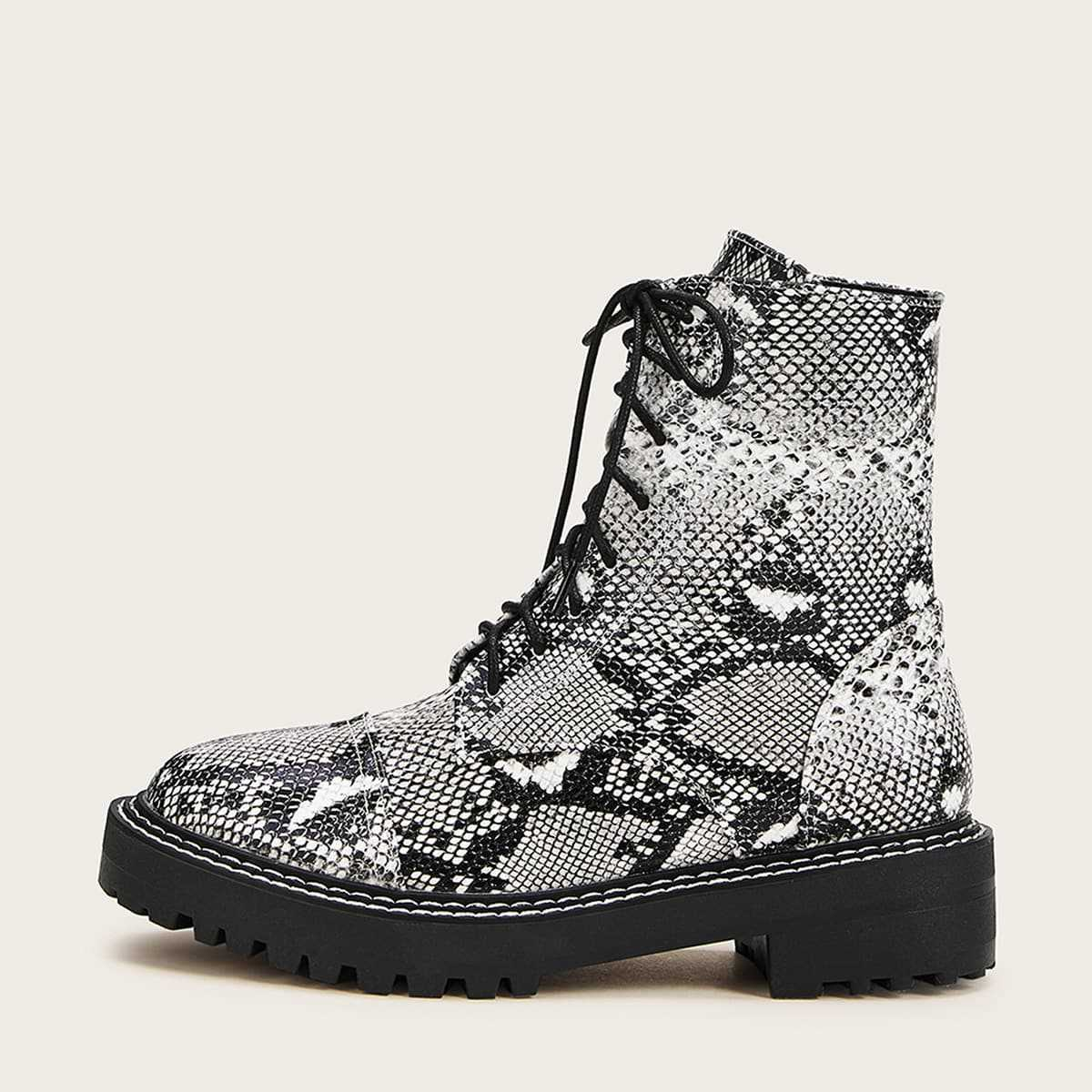Lace-up Front Snakeskin Ankle Boots in Multicolor by ROMWE on GOOFASH