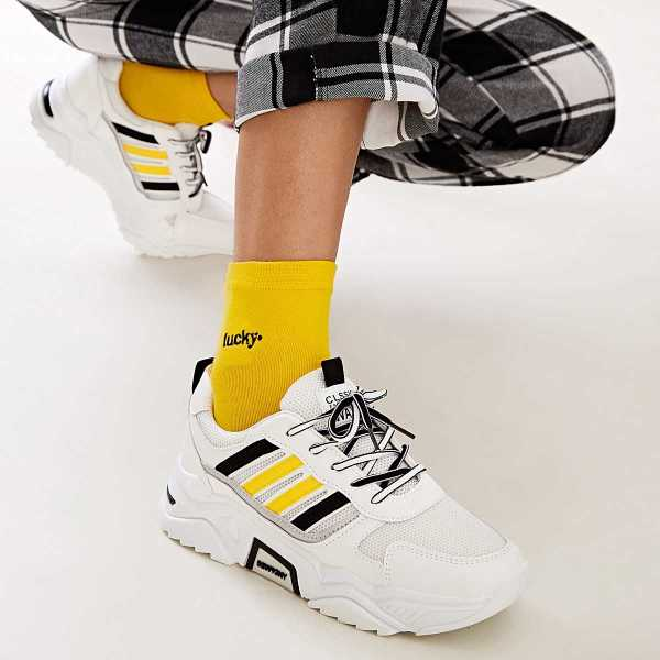 Lace-up Front Striped Trainers in White by ROMWE on GOOFASH