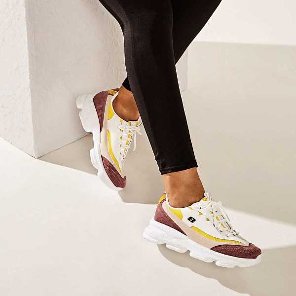 Lace-up Front Suede Panel Trainers in Multicolor by ROMWE on GOOFASH
