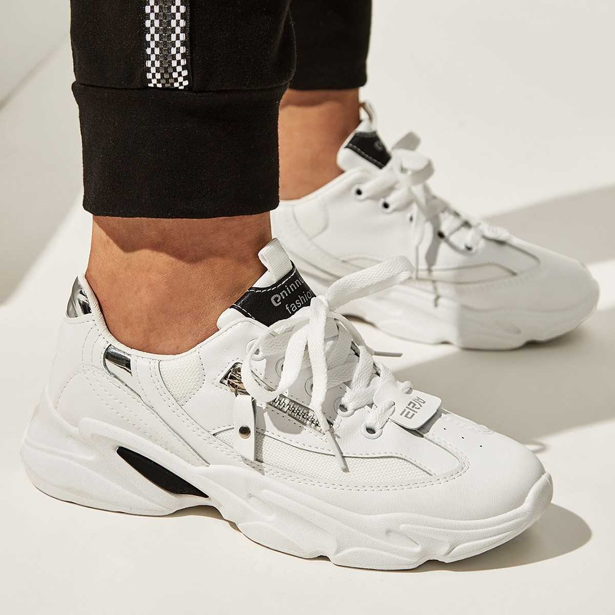 Lace-up Front Zip Decor Trainers in White by ROMWE on GOOFASH