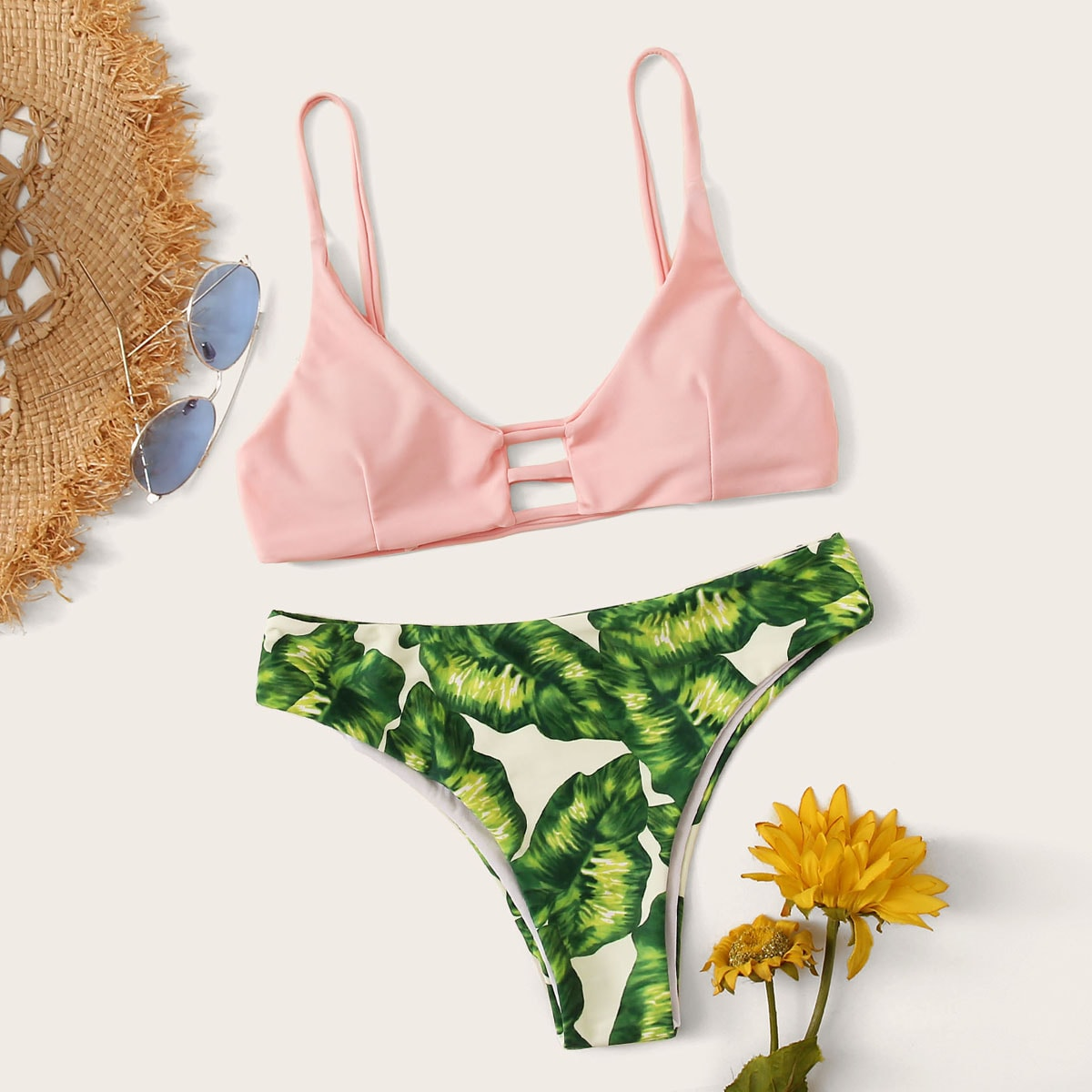Ladder Cut Out Top With Tropical Bikini Set in Multicolor by ROMWE on GOOFASH
