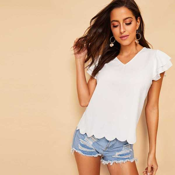 Layered Sleeve Scallop Trim Solid Blouse - Shein - GOOFASH