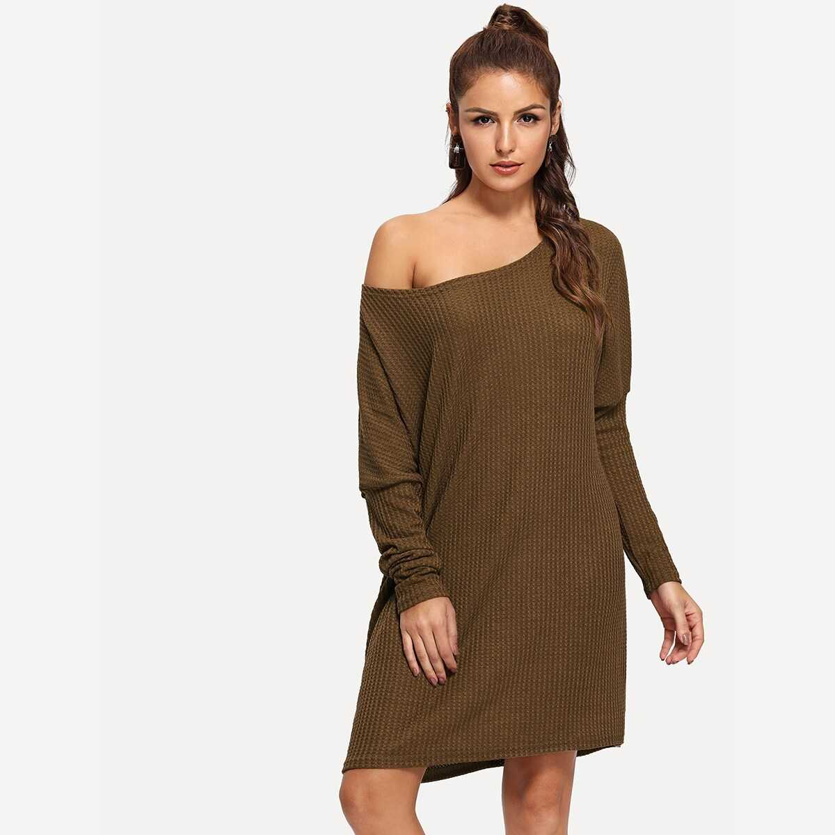 Leg-of-mutton Sleeve Sweater Dress - Shein - GOOFASH