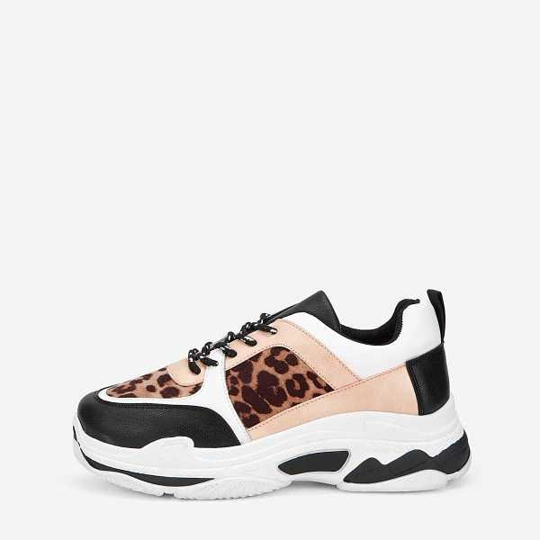 Leopard Pattern Chunky Sole Trainers in Multicolor by ROMWE on GOOFASH