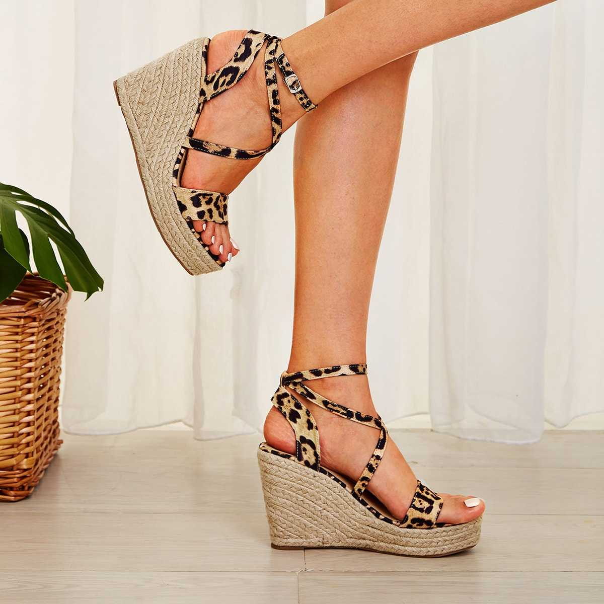 Leopard Print Ankle Strap Espadrille Wedges in Multicolor by ROMWE on GOOFASH