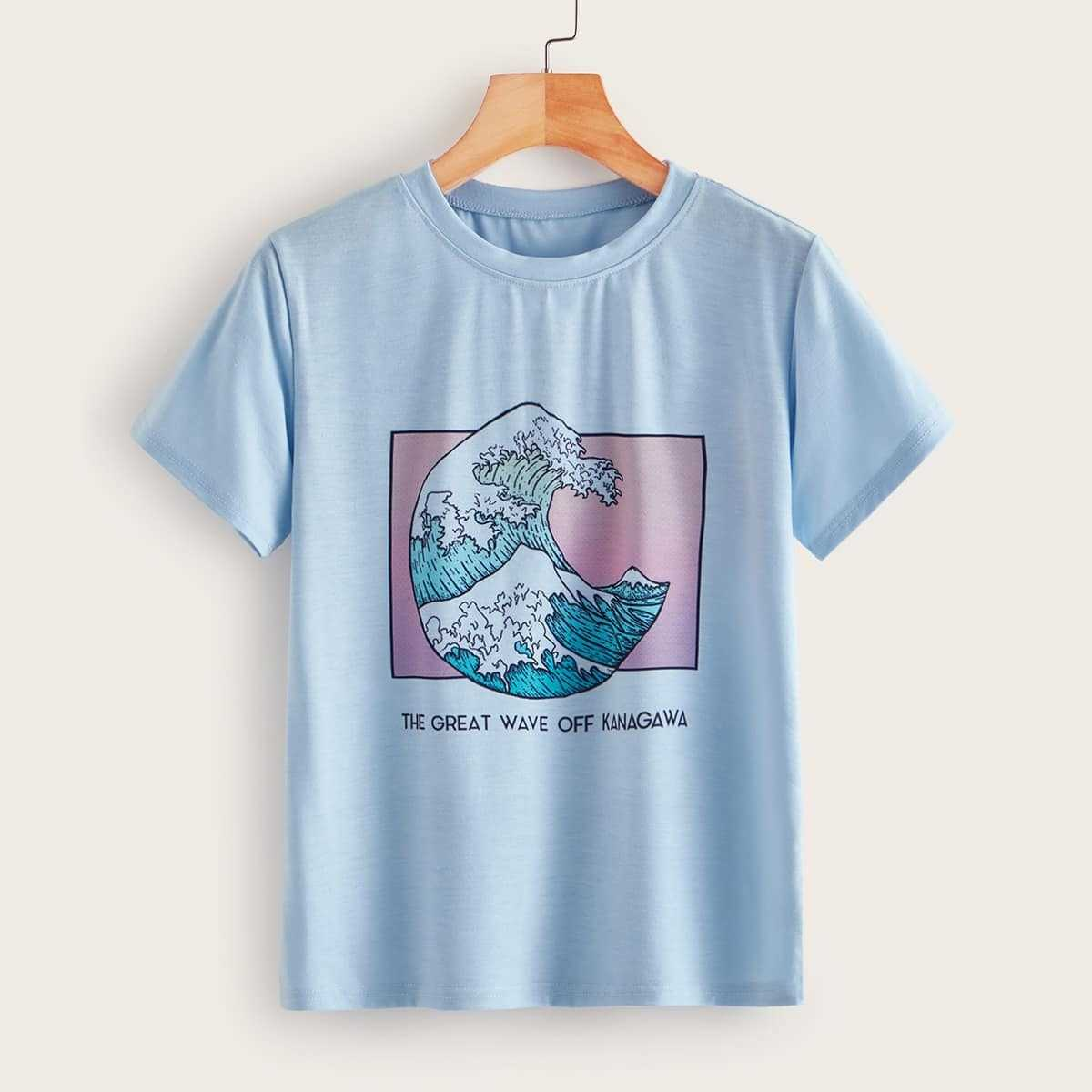 Letter And Sea Wave Print Tee in Blue Pastel by ROMWE on GOOFASH