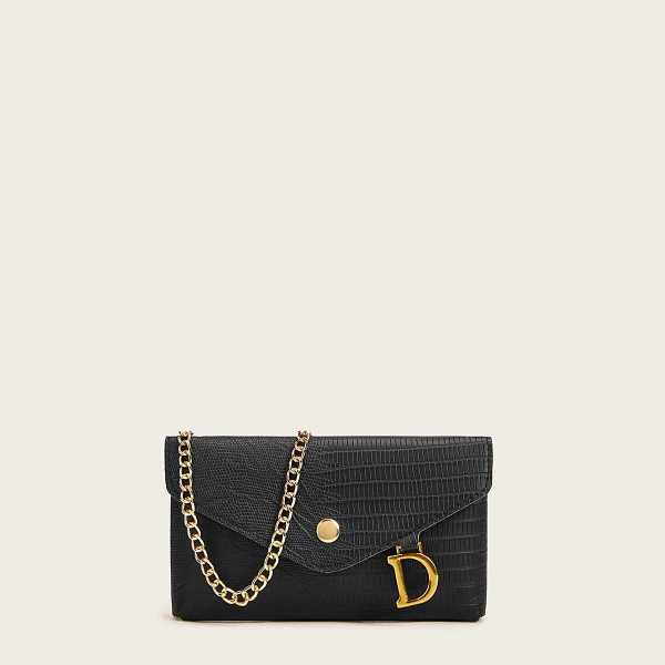 Letter D Decor Flap Crossbody Bag in Black by ROMWE on GOOFASH