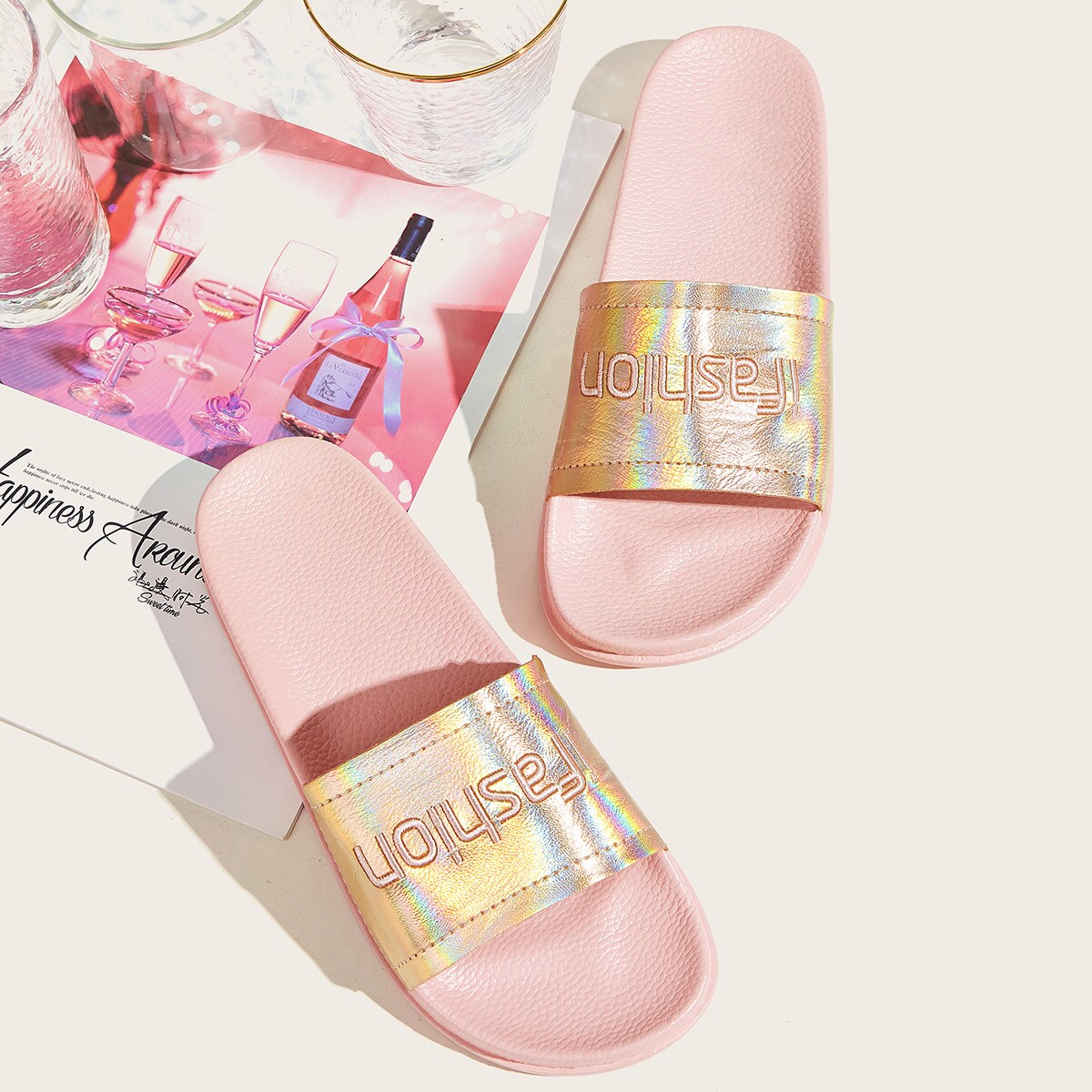 Letter Embroidered Iridescent Sliders in Multicolor by ROMWE on GOOFASH