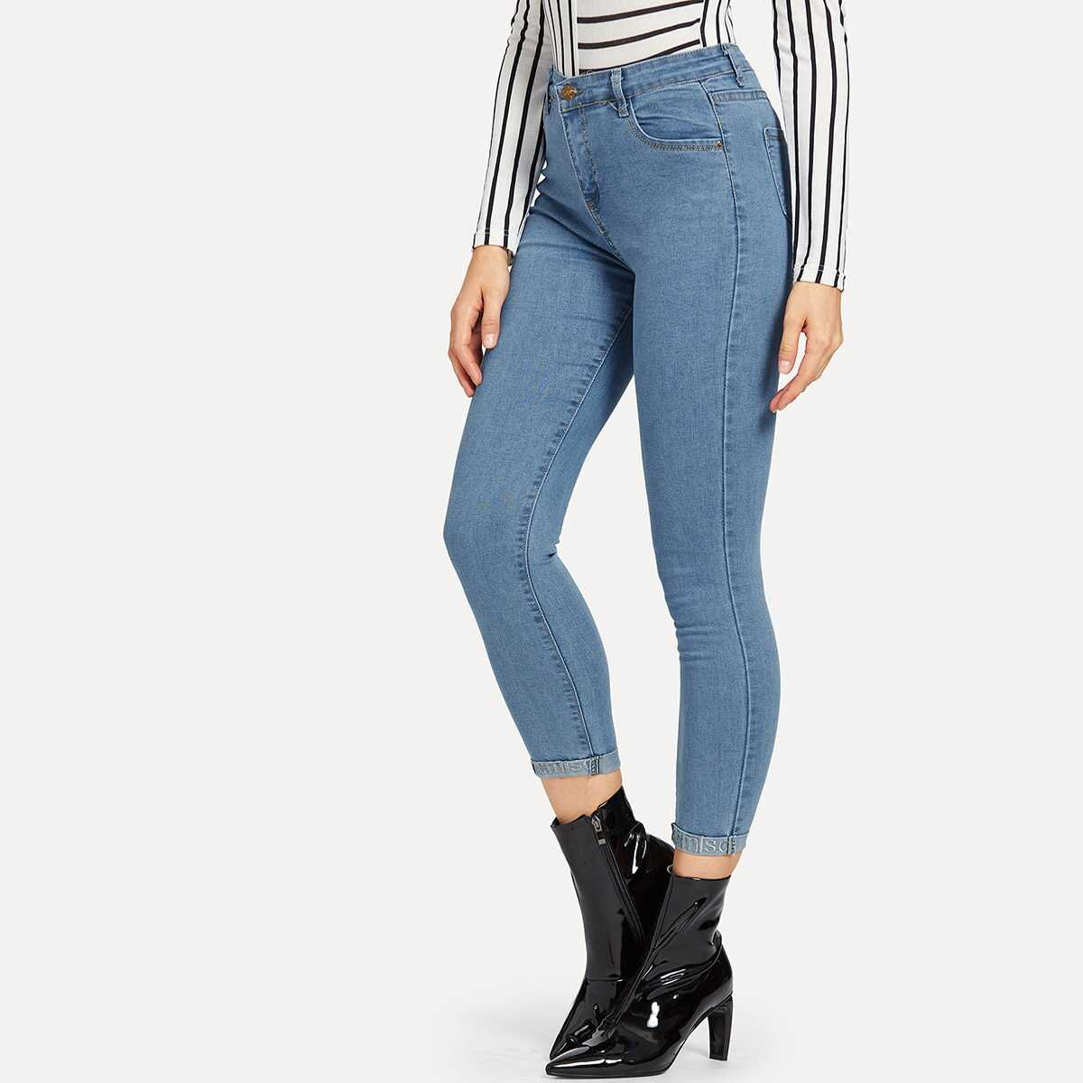 Letter Embroidered Roll Up Jeans - Shein - GOOFASH