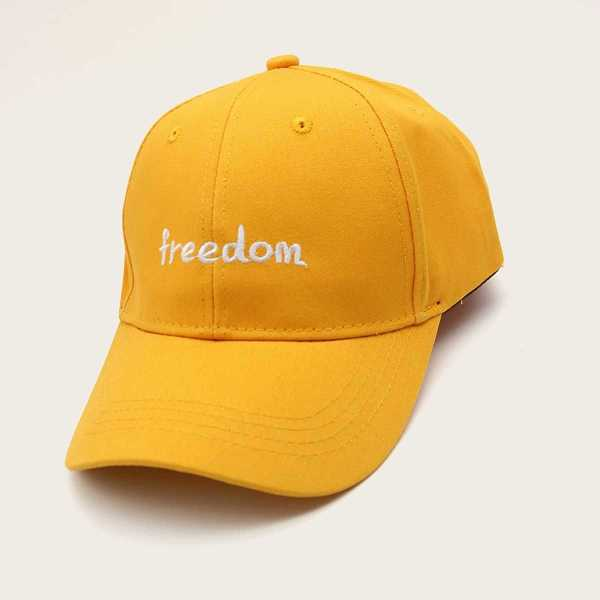 Letter Embroidery Baseball Cap in Yellow by ROMWE on GOOFASH
