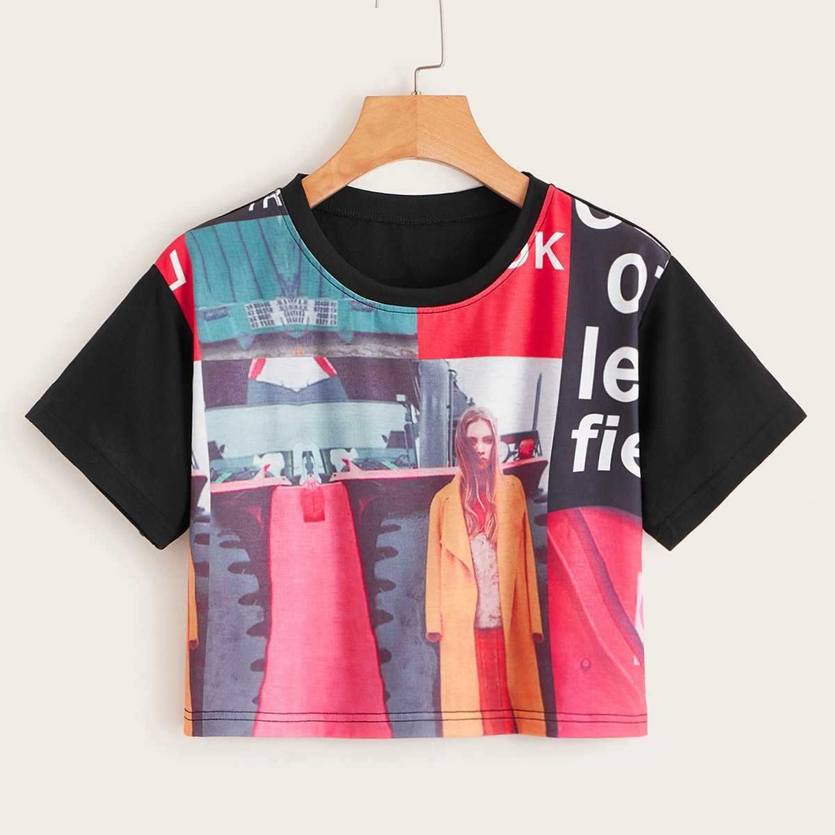 Letter & Figure Print Crop Tee in Multicolor by ROMWE on GOOFASH