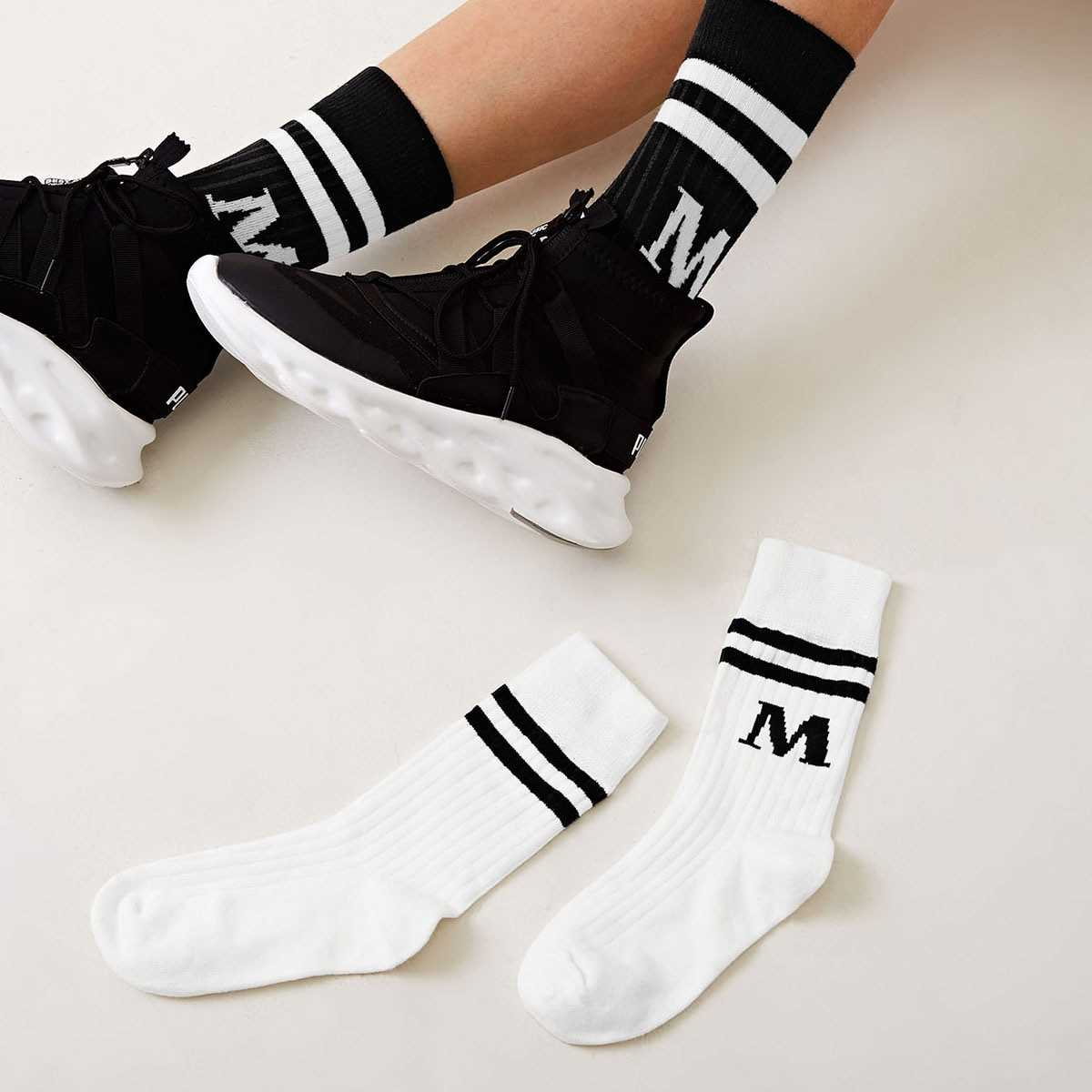 Letter Pattern Socks 2pairs in Black and White by ROMWE on GOOFASH