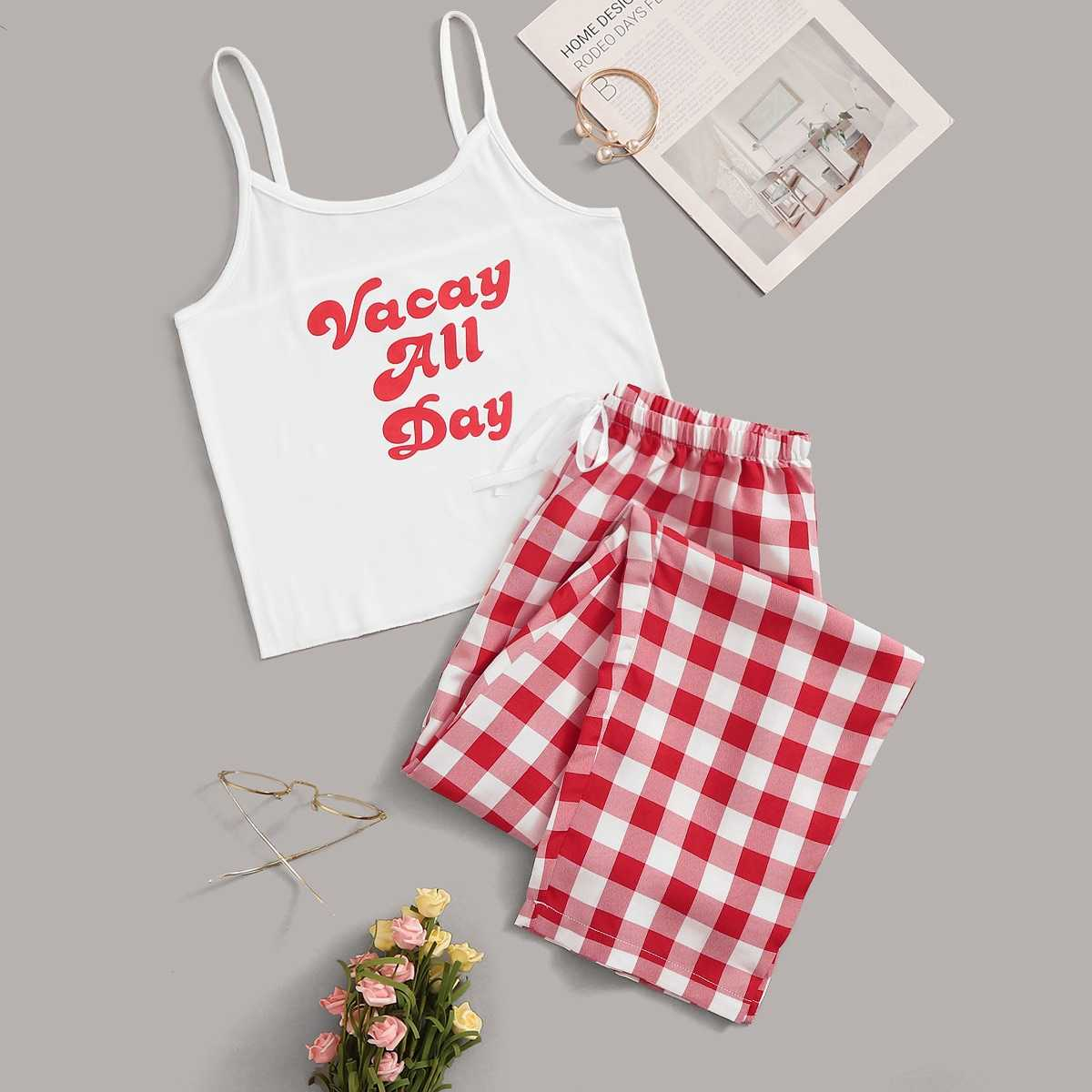 Letter Print Plaid Cami Pajama Set in Multicolor by ROMWE on GOOFASH