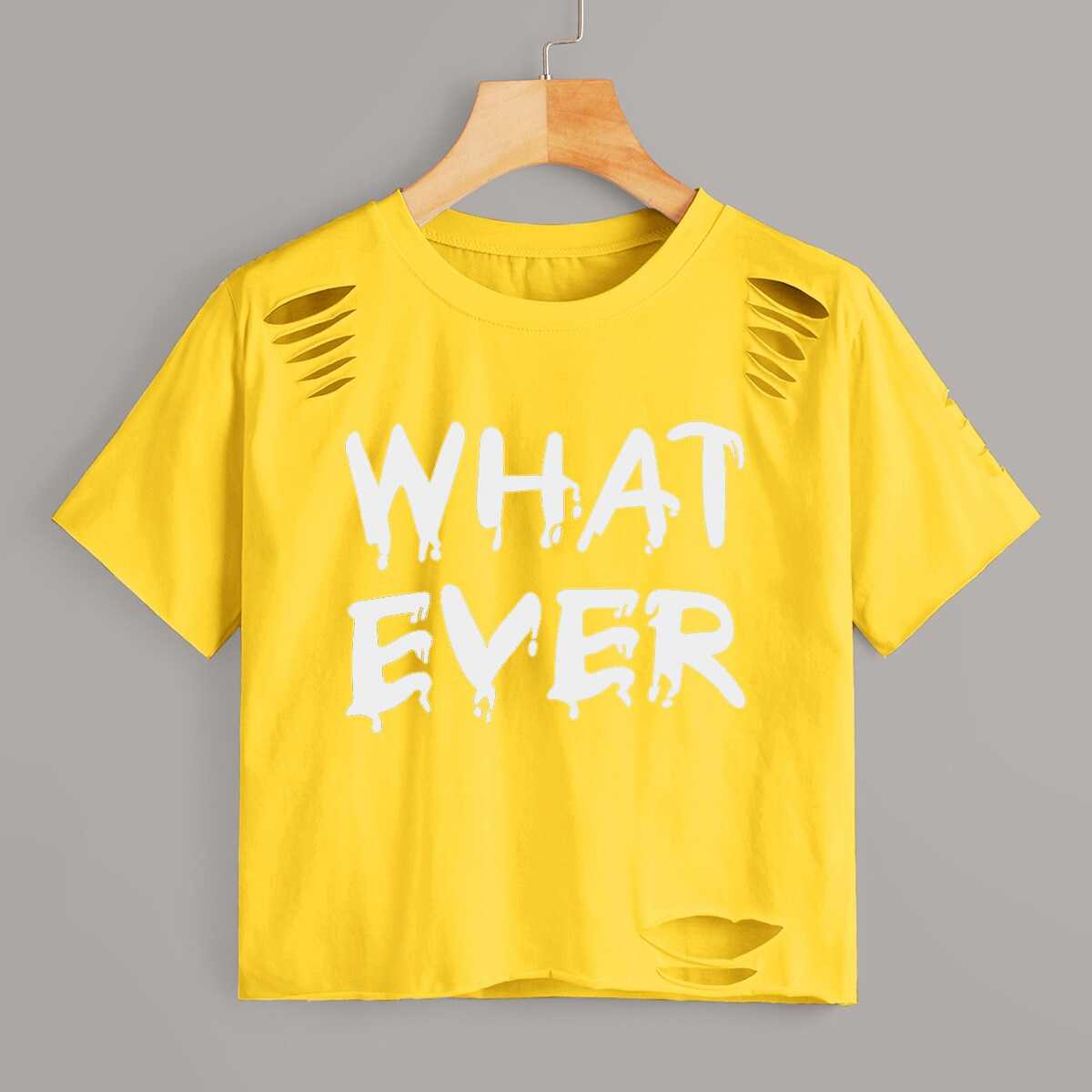 Letter Print Ripped Tee in Yellow by ROMWE on GOOFASH