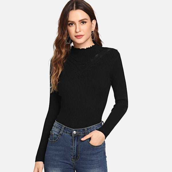 Lettuce Trim Ribbed Knit Sweater in Black by ROMWE on GOOFASH