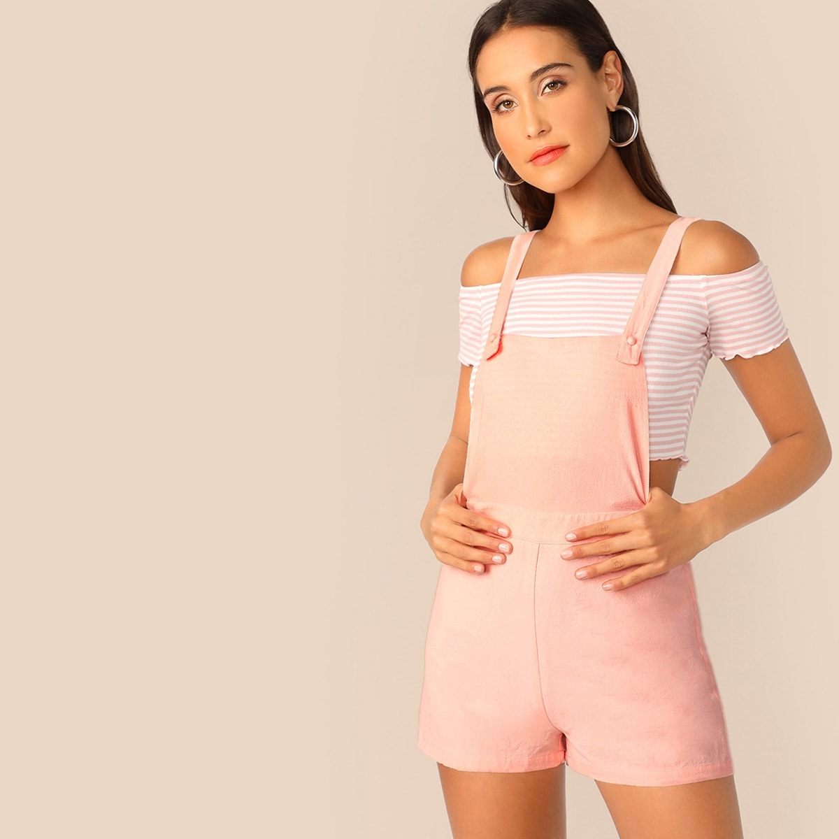 Lettuce Trim Striped Bardot Top & Overall Shorts Set in Pink by ROMWE on GOOFASH