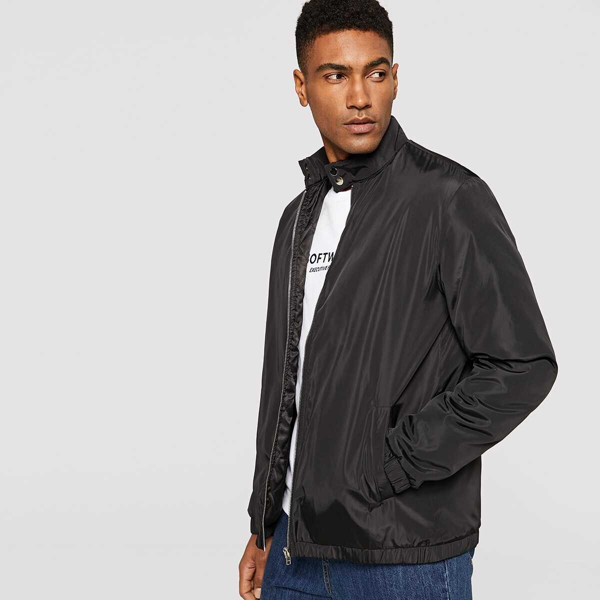 Men Buttoned Stand Collar Padded Jacket - Shein - GOOFASH