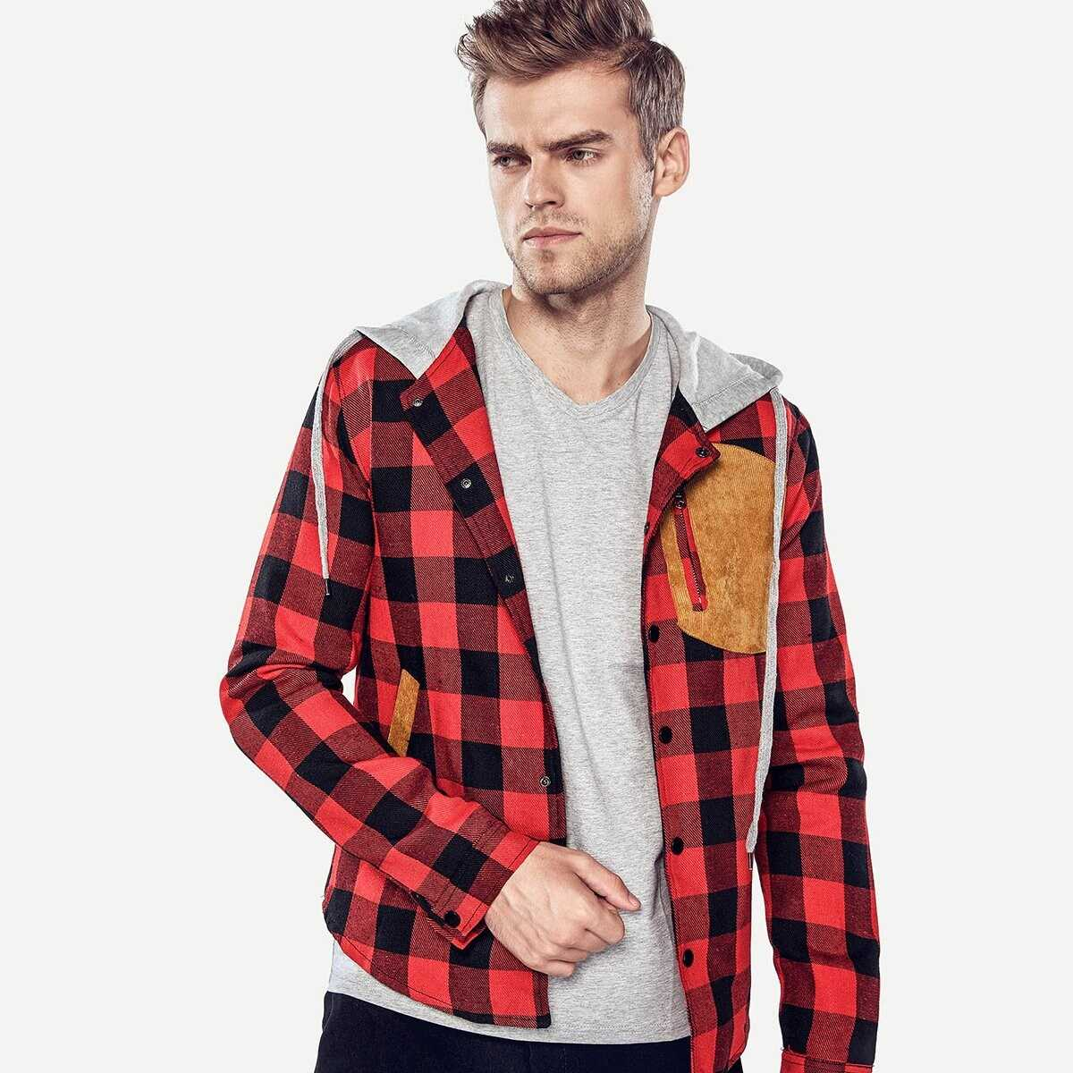 Men Contrast Suede Plaid Hooded Jacket - Shein - GOOFASH