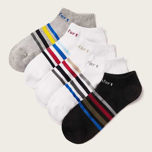 Men Letter Pattern Striped Ankle Socks 5pairs - Shein - GOOFASH