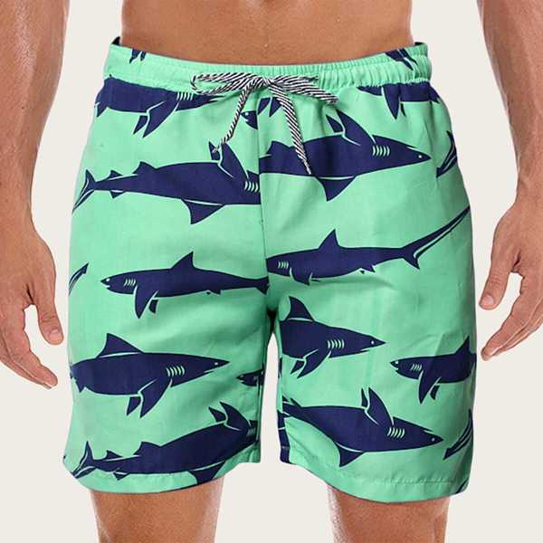 Men Shark Print Drawstring Bermuda Shorts - Shein - GOOFASH
