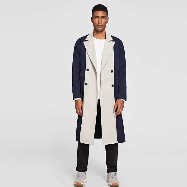 Men Two Tone Double Breasted Belted Trench Coat - Shein - GOOFASH