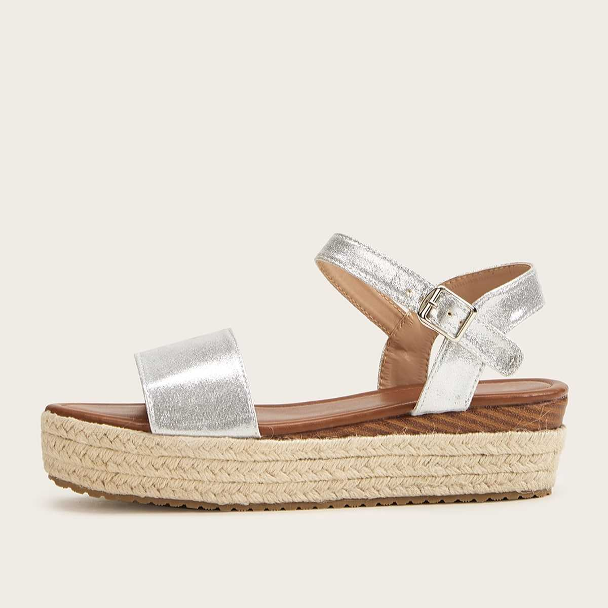 Metallic Buckle Strap Espadrille Wedges in Silver by ROMWE on GOOFASH