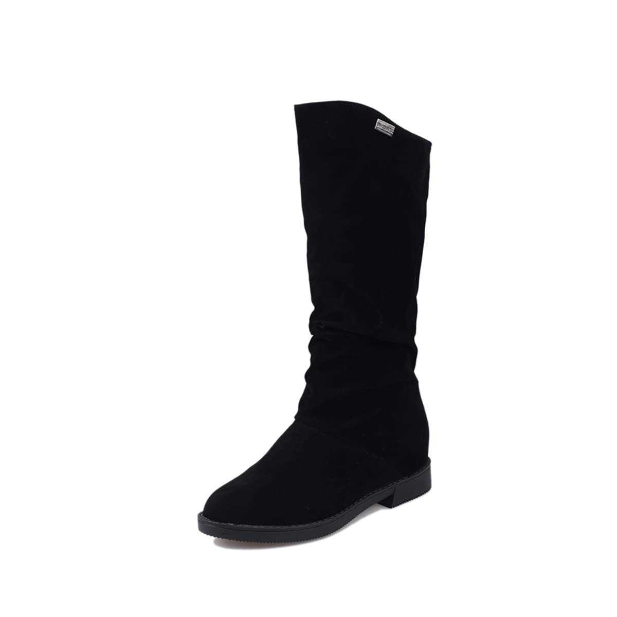 Mid Calf Suede Boots in Black by ROMWE on GOOFASH