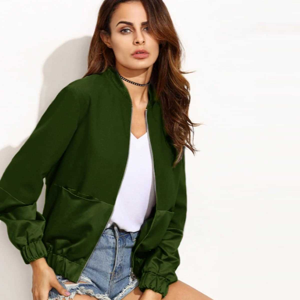 Mixed Media Zip Up Bomber Jacket in Green by ROMWE on GOOFASH