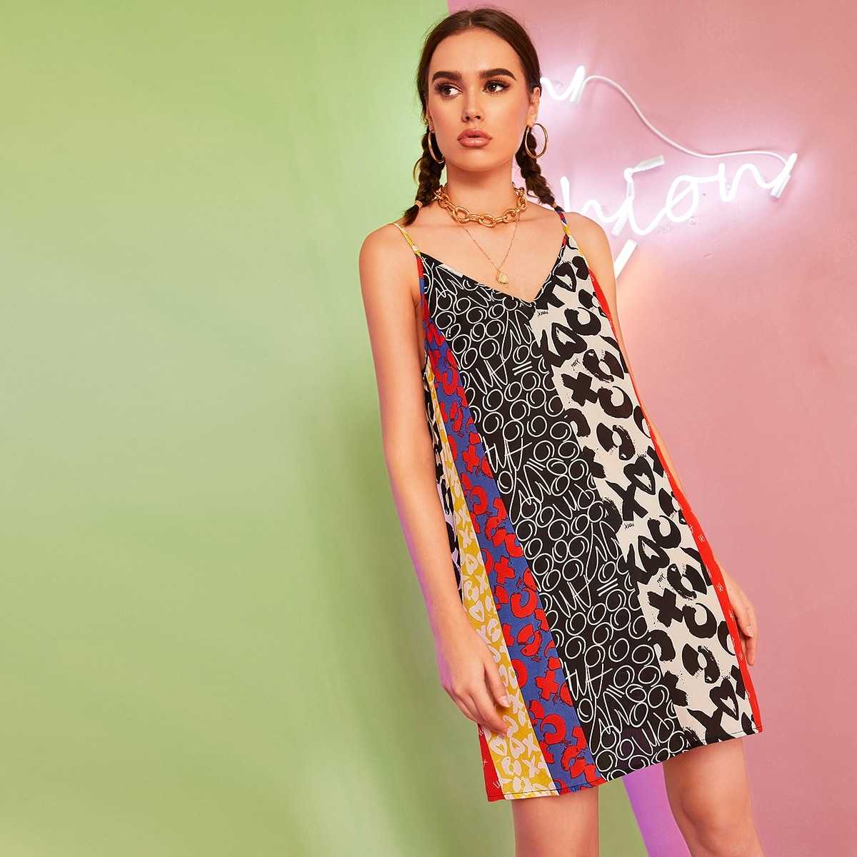Mixed Print Slip Tunic Dress in Multicolor by ROMWE on GOOFASH