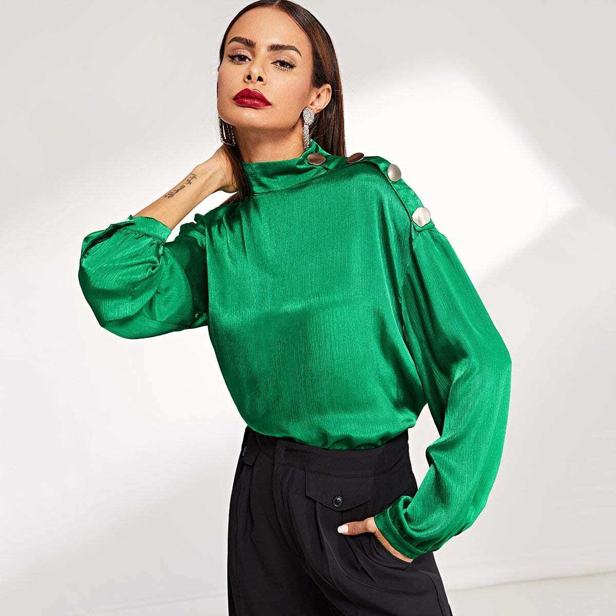 Mock Neck Button Detail Blouse - Shein - GOOFASH