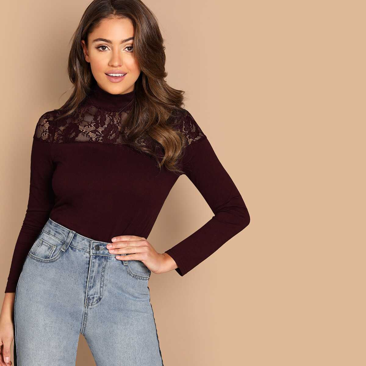 Mock-neck Lace Insert Form Fitting Tee - Shein - GOOFASH