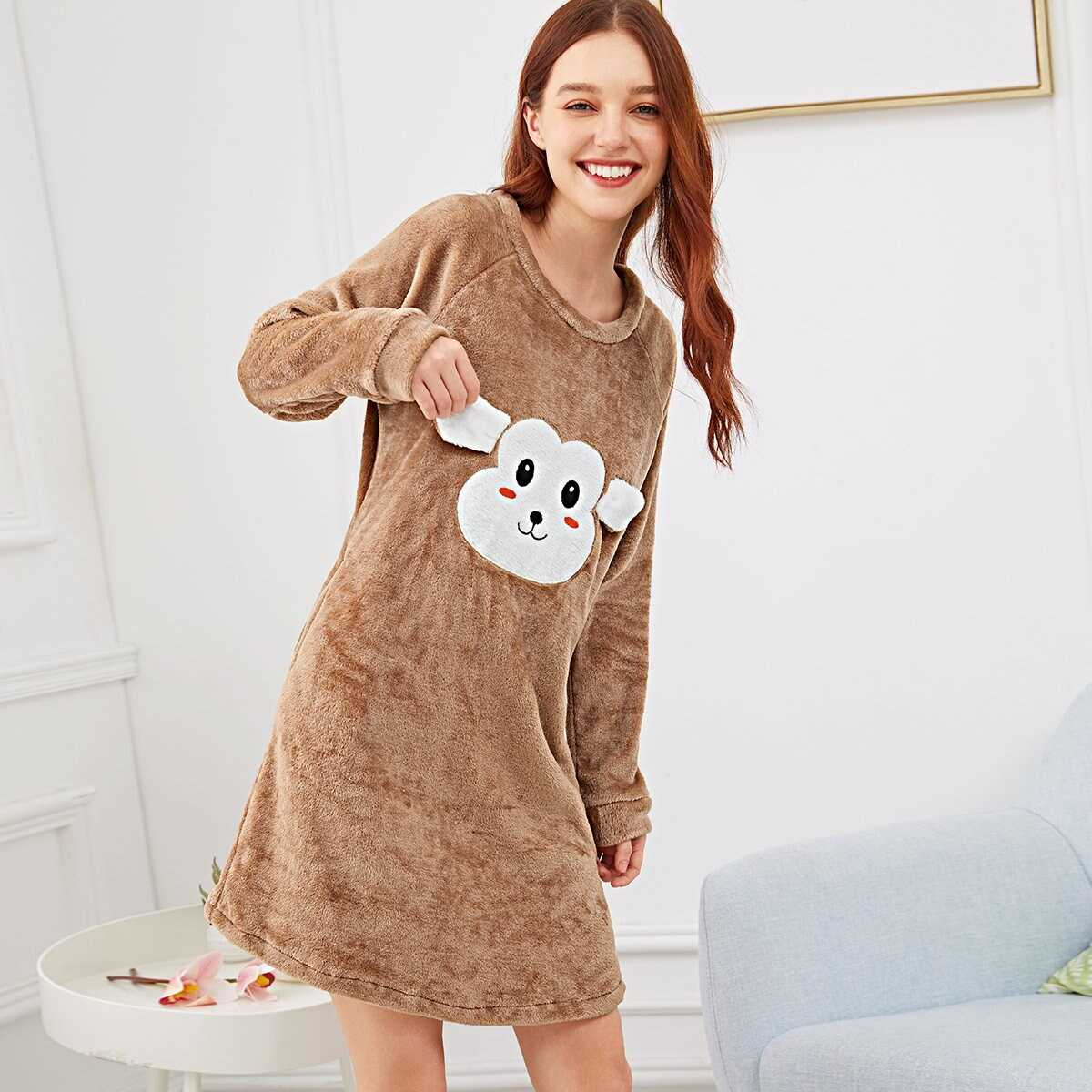 Monkey Embroidered Fluffy Night Dress - Shein - GOOFASH
