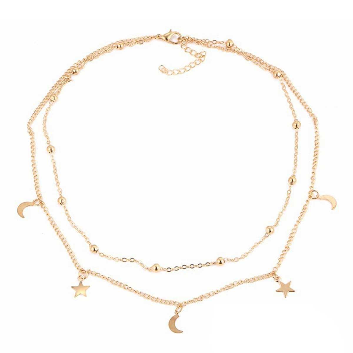 Moon & Star Decorated Layered Choker in Gold by ROMWE on GOOFASH