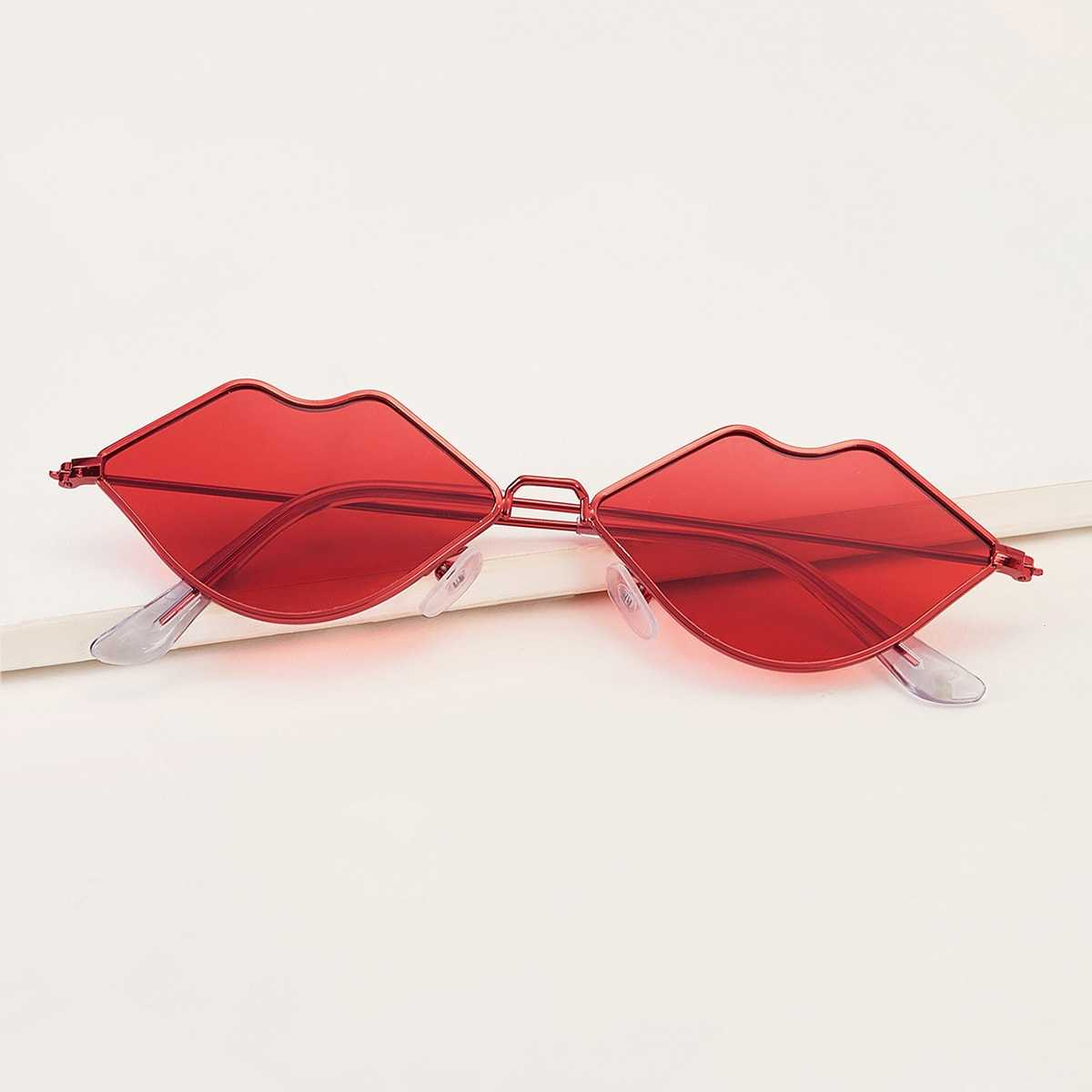 Mouth Design Tinted Lens Sunglasses in Red by ROMWE on GOOFASH