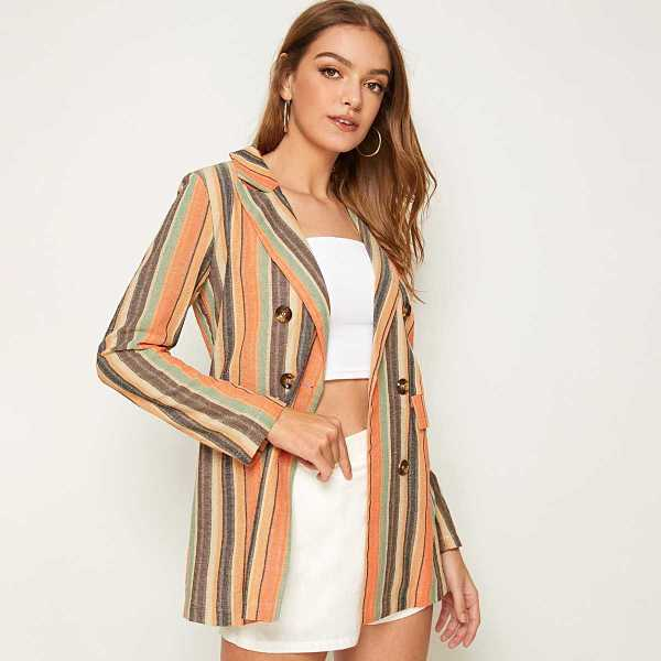 Muti-stripe Double Breasted Notched Neck Blazer in Multicolor by ROMWE on GOOFASH