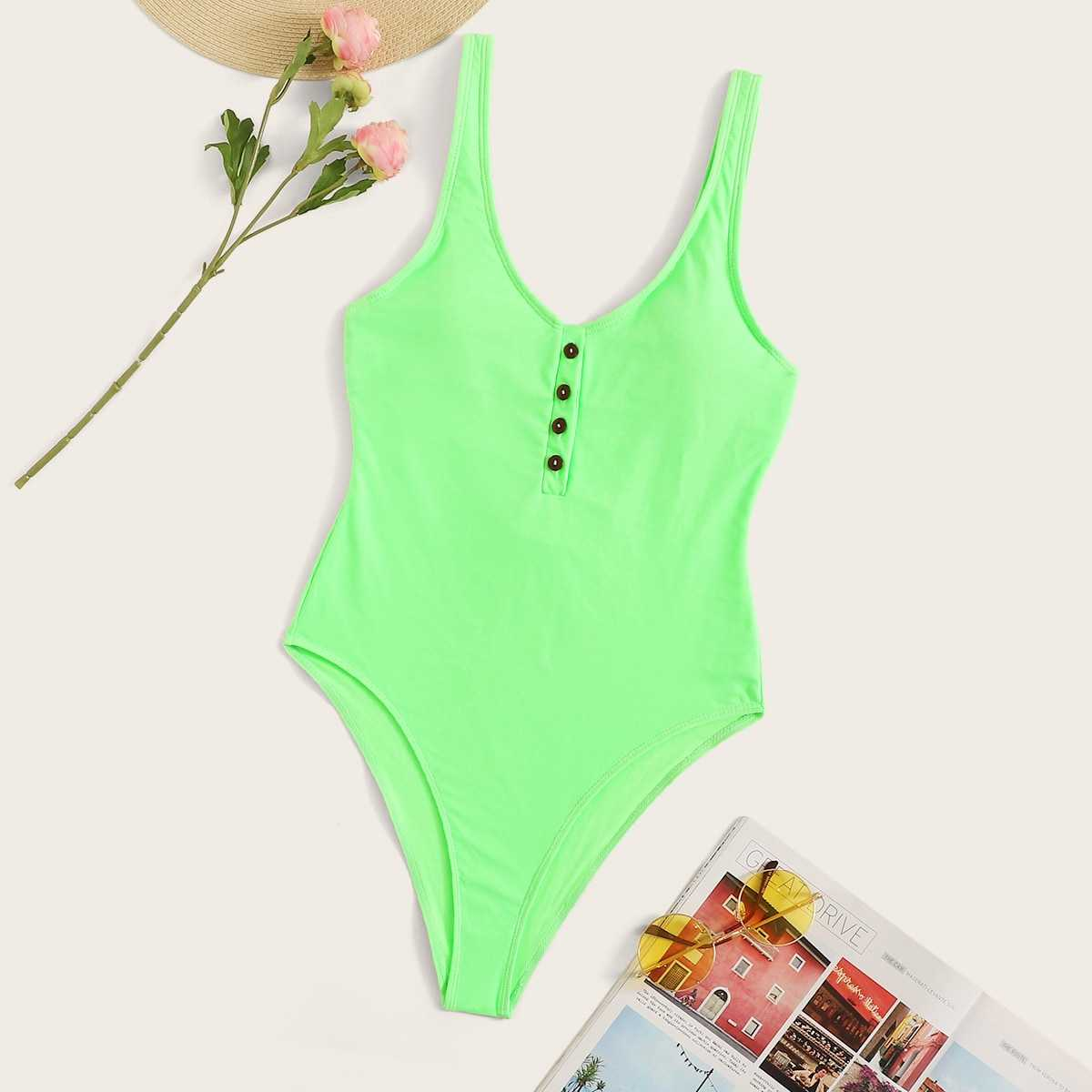 Neon Lime Button Front One Piece Swimsuit in Green Bright by ROMWE on GOOFASH