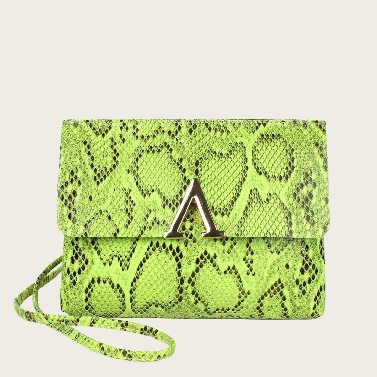 Neon Lime V Cut Snakeskin Print Bag in Green Neon by ROMWE on GOOFASH