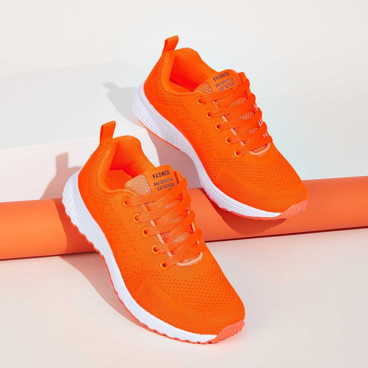 Neon Orange Lace-up Front Trainers in Orange Neon by ROMWE on GOOFASH