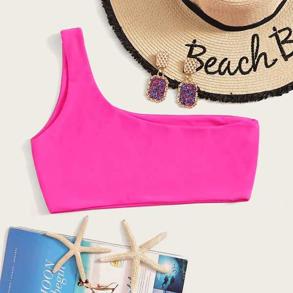 Neon Pink One Shoulder Swimming Top in Pink by ROMWE on GOOFASH