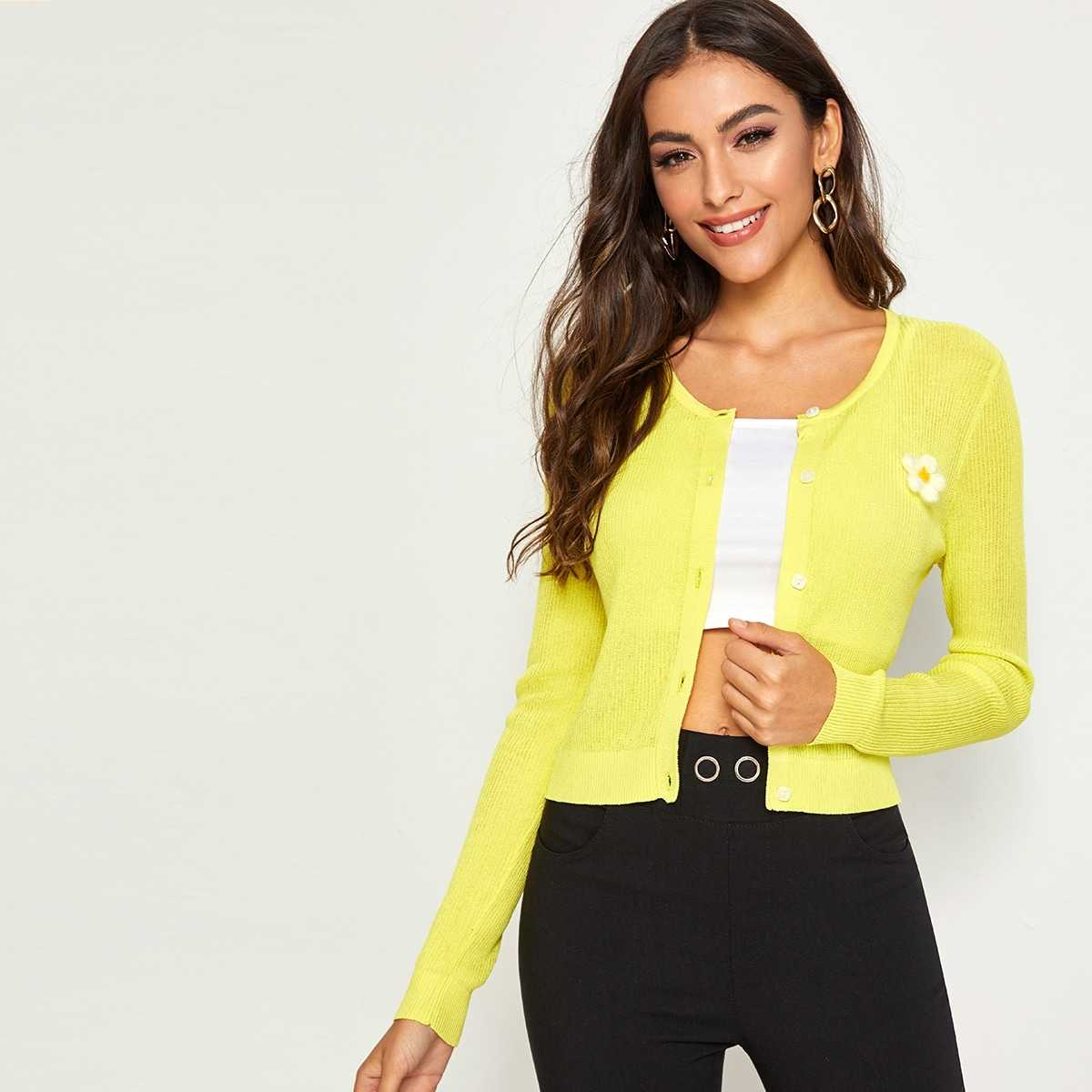 Neon Yellow Appliques Detail Cardigan in Yellow Bright by ROMWE on GOOFASH