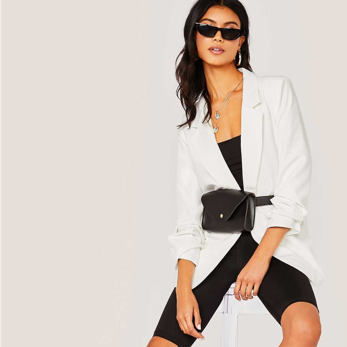Notch Collar Gathered Sleeve Blazer Without Bag in White by ROMWE on GOOFASH