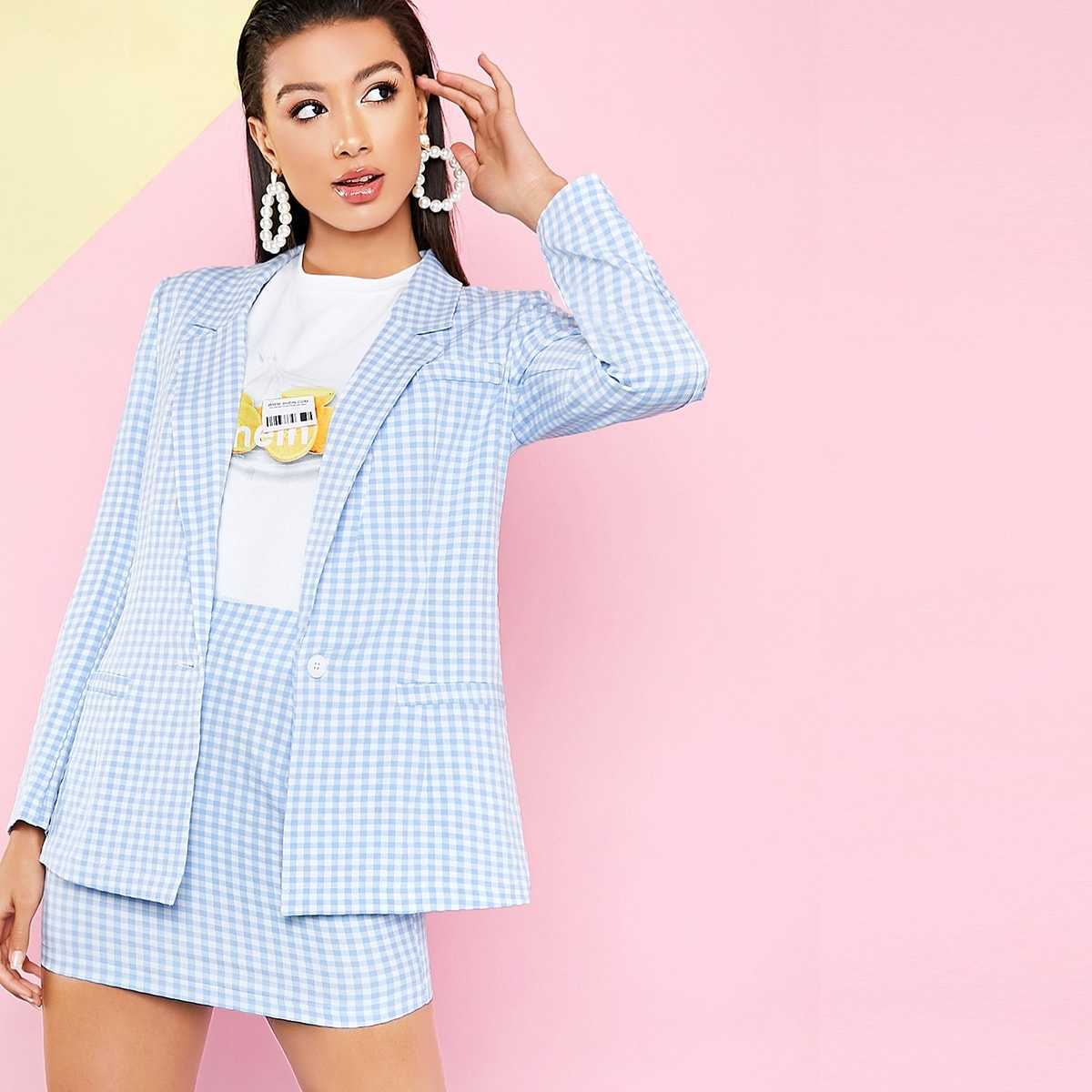 Notched Collar Buttoned Front Gingham Blazer & Skirt Set in Blue Pastel by ROMWE on GOOFASH