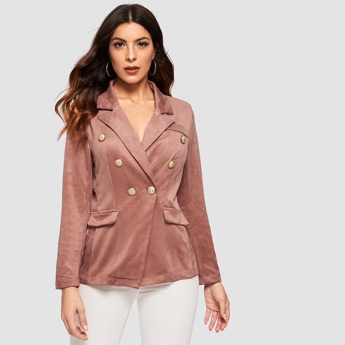 Notched Collar Double Breasted Suede Blazer - Shein - GOOFASH