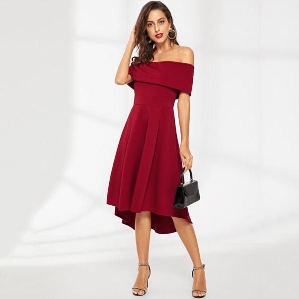 Off Shoulder Ruffle Solid Dress - Shein - GOOFASH