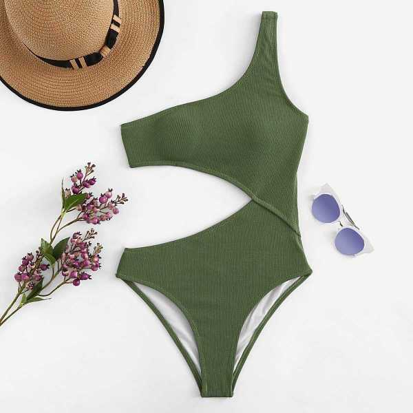 One Shoulder Cutout One-Piece Swimsuit in Army Green by ROMWE on GOOFASH